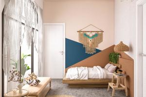 Tone màu tường sơn màu xanh giống màu của nước biển hoặc bạn có thể sơn nửa bức tường trên nền trắng