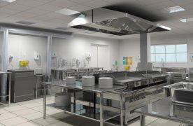 Không gian phải rộng rãi, thông thoáng cũng như đầy đủ các thiết bị bếp ăn công nghiệp.