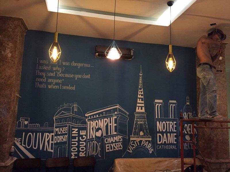 vẽ trang trí quán cafe