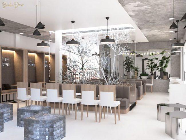 Đèn trang trí quán cafe vừa có tác dụng trang trí, vừa có tác dụng tạo không gian nhẹ nhàng, thư giãn.