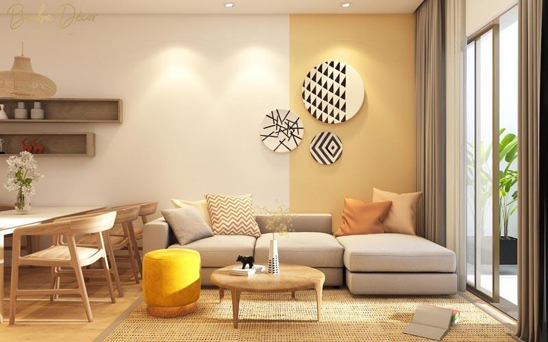 Mẫu thiết kế căn hộ chung cư với tông vàng rực rỡ đầy ấn tượng
