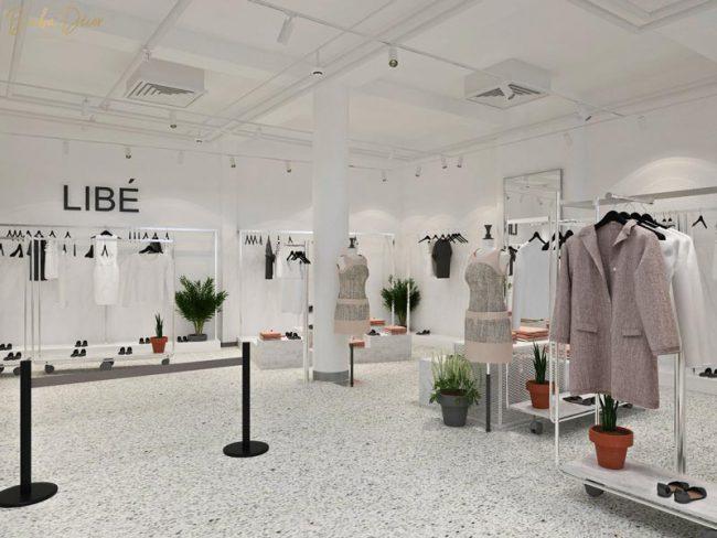 Mẫu thiết kế nội thất showroom cửa hàng thời trang nữ Libé.