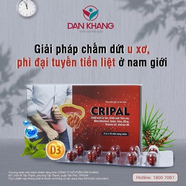 Sản phẩm Cripal giải pháp chấm dứt u xơ phì đại tuyến tiền liệt ở nam giới